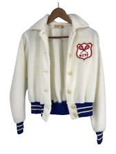 Vintage Wilson Tennis Jacket Top White Fuzzy Fur 1950's 1960's Size 36 Small S