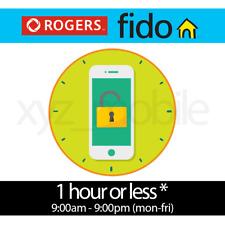 Rogers, Fido (Canada) Unlock 1 Hr Service (Mon-Fri) 9:00AM-9:00PM