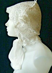 Old Vtg Woman Cap Bonnet schiffli lace embr/red net lappets voile  H made