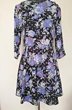 Oasis Womens Dress Size 10  3/4 Sleeve Floral Flower Multi colour Black Skater