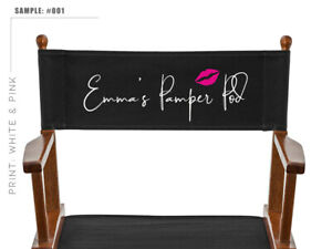 Personalized Spare Black Canvas for Makeup Artist and Directors Chair WHITE&PINK