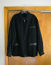 Comme Des Garcons Homme Black Wool Jacket With Leather Trim