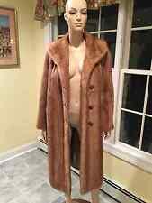 Natural 3/4 Length Blonde Mink Fur Coat USA Skins Sz 10 Large Light Brown Beige