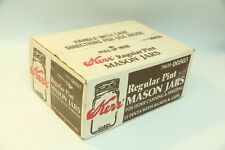 Box of 12 Kerr Regular Pint Size Canning Mason Jars with Lids NOS Sealed Vintage