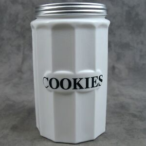 WHITE MILK GLASS TALL COOKIE CANISTER w/ Metal Lid ~COLUMN DESIGN~ BLACK LETTERS