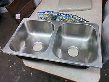 "RV Camper Kitchen 50/50 Stainless Steel Double Bowl Sink 27"" X 16"" X 7"""