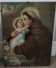 More details for vintage st. anthony of padua & baby jesus framed picture ~ catholic interest