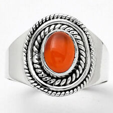 Natural Carnelian 925 Sterling Silver Ring s.7.5 Jewelry 8893