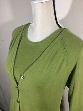 Original Island Sport Silk Cotton Green Tank Top Cardigan Set Woman 2 Piece Twin
