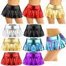 Women Wetlook Metallic Mini Skirt Skater Dance Party Short Skirt Panty Clubwear