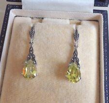 Sterling Silver Peridot Marcasite Drop Earrings