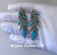 💙 Superbes longues Boucles d'oreilles argent 925 Turquoise et Marcassite