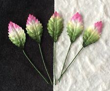 20 rose leaves tiny floral leaf Cardmaking doll hats Miniature green pink cream