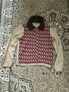 UNITED COLORES OF BENETTON STUNNING LADIES VINTAGE KNITTED CARDIGAN SIZE M VGC