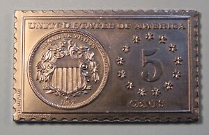 1867 United States Shield Nickel Numistamp Medal Coin 1972 Mort Reed Limited