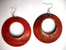 NEW LARGE DEEP RED COLOR REAL COCONUT WOOD DANGLING ROUND HOOP FASHION EARRINGS