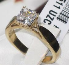 1511 PRINCESS CUT SOLITAIRE RING SIMULATED DIAMOND ENGAGEMENT STEEL 18KT GOLD