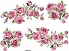 VinTaGe IMaGe XL PinK CaBbaGe RoSeS SWaGs & BouQueTs SHaBbY WaTerSLiDe DeCALs