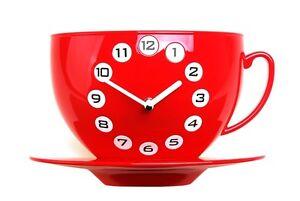 Coffee Cup Wall Clock Modern Art Design Unique Home Decor Interior Fun - Red