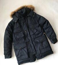 Triple Fat Goose Mens Navy Jacket Faux Fur Trimmed Hood Size Large