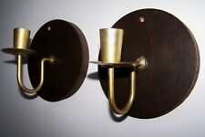 Pair Of Circular Round Vintage Brass / Wood Wall Sconce Candle Holders