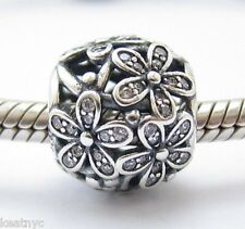 SPARKLING DAISY FLOWERS CHARM Bead Sterling Silver .925 4 European Bracelets 762