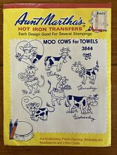Moo Cows For Towels Packet Aunt Martha's Hot Iron Embroidery Transfers Patterns