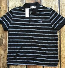 Lacoste Sport Striped Golf Polo Shirt Black Gray Mens Size 7 2XL New