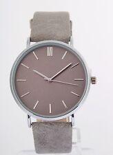 Damen Uhr Armbanduhr silber hell grau classic flach dünn