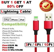 LONG USB Braided Cable For iPhone 6 7 8 XS XR 5 Lightning Charger Crod 3/6/10FT