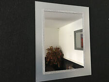 SILVER DIAMANTE WALL MIRROR FROSTED GLASS LOOK DRESSING BATHROOM WALL MIRROR