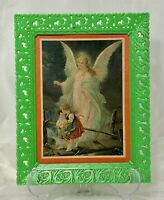 "Vintage Guardian Angel Print 8x10"" Green Plastic Ornate Frame Soroka Sales Inc"