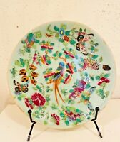 Antique Chinese Celadon Famille Rose Plate Dish Bird Butterfly 7 1/4 inch
