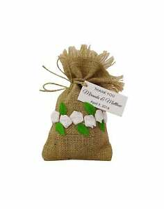 20 Jute and Lace Drawstring Gift Potli Favor Bags Wedding Party-FbM