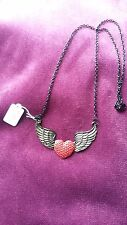 STEAMPUNK GOTHIC BLACK/ RED/ RED HEART BLACK WING CHAIN  NECKLACE