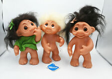 "Lot Of 3 Vintage Thomas Dam 9"" Troll Dolls all Numbered #604 1-dated 1985"