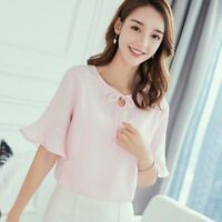 Ladies Women Loose Summer Chiffon Top T-Shirt Fashion Blouse Short Sleeve Solid