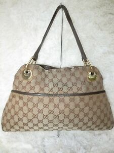 AUTH GUCCI GG Monogram Tote handbag Purse hobo bag canvas leather WELLWORN