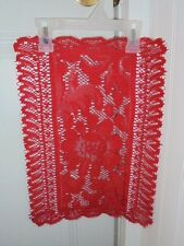 """Bright Christmas RED Lace Doily Placemat FLOWERS 16"""" x 11.5"""" Home Holiday Decor"""