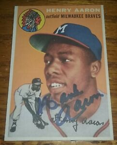 HANK AARON AUTOGRAPH 1954 TOPPS REPRINT ROOKIE SIGNED AUTO BRAVES HOF DIED 2021