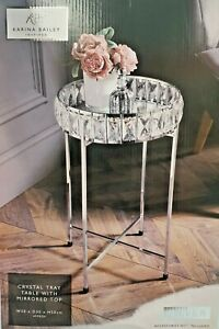 KARINA BAILEY CRYSTAL SILVER TRAY TABLE WITH MIRRORED GLASS TOP COFFEE TABLE NEW