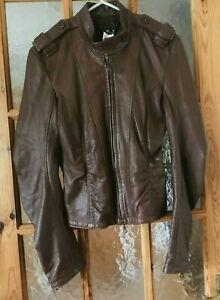"""MORGAN Brown Soft Real Leather Jacket Size:L - Chest 36"""""""