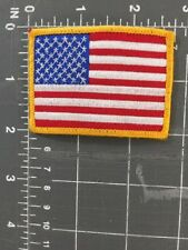 Vintage United States Of America Flag Patch Stars Stripes Gold Yellow Border USA