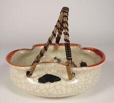 Vintage KYOTO WARE Japanese Crackleware DRAGON Divided Ceramic Basket Bowl