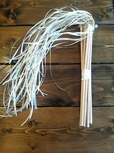 Lot of 10 Wedding Streamers Ribbon Wands Gold Ivory Bells