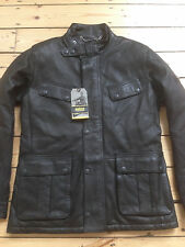 "BARBOUR ""SADDLER"" LEATHER MOTORCYCLE JACKET. MEDIUM. BRAND NEW WITH TAGS."