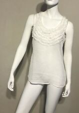 S New York and Company Ruffle White Sleeveless Tank Top NY & Co Womens Sheer