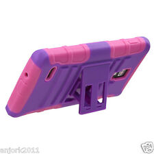 LG Optimus L9 P769 T-Mobile Hybrid Armor Case Skin Cover w/ Stand AA Purple Pink