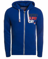 New Mens Superdry Retro Zip Hoodie Mazarine Blue