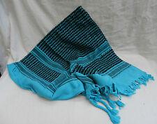 Blu/Turchese e Nero, 100% Heavy Cotton Sciarpa Araba/ARABO-Large-Nuovo con Scatola